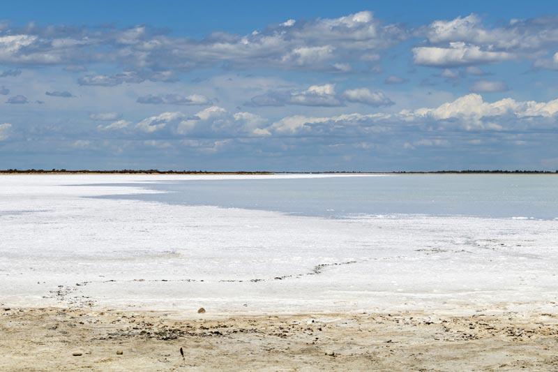 Naturschauspiel mit Würzeffekt: Von Wind und Sonne wird naturreines Salz aus dem Meer der Camargue geholt.