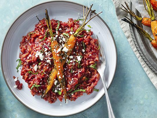 Rote Bete Risotto mit Karotten Das grüne Salz